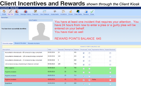 Client Incentives and Rewards on the Client Kiosk as part of the Behavior Management Package | CorrectTech