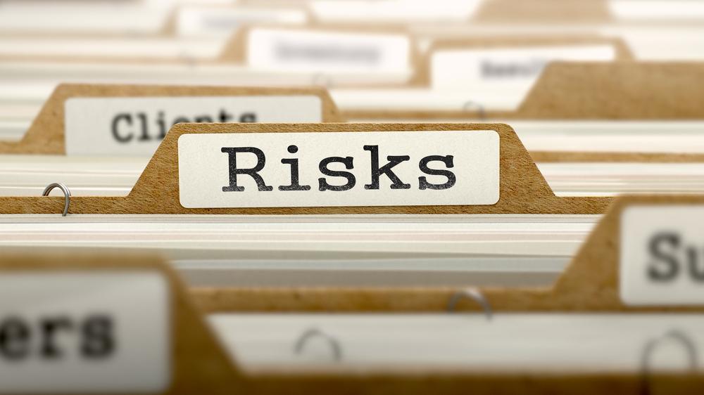 Risks Concept. Word on Folder Register of Card Index. Selective Focus.